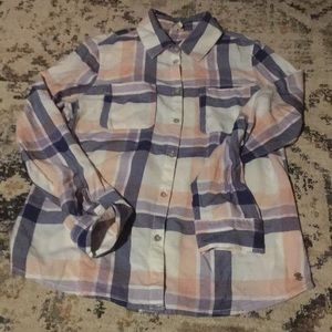 Soft blue and pink plaid button down shirt size S